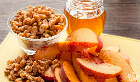 Walnuts peaches and honey preparation