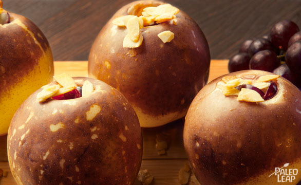 Almond and Grape stuffed pears