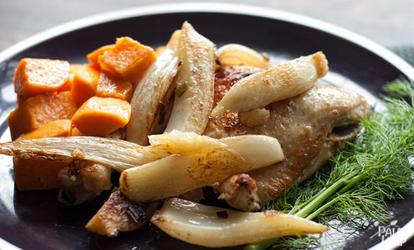 Braised Chicken With Fennel And Sweet Potatoes