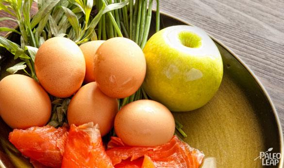 Egg and Smoked Salmon preparation