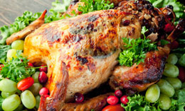 Herb-Crusted Turkey With Apple-Cranberry And Veal Stuffing