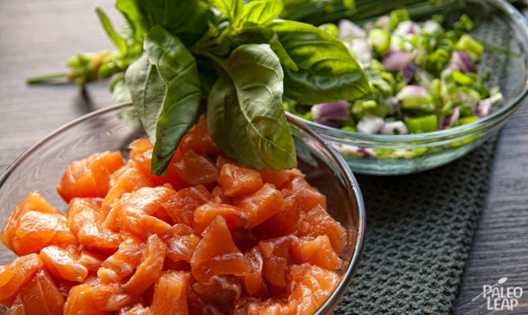 Salmon Tartare preparation