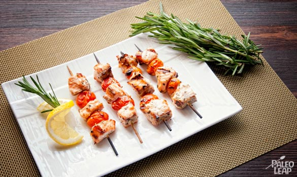 Grilled Salmon-Tomatoes Skewers