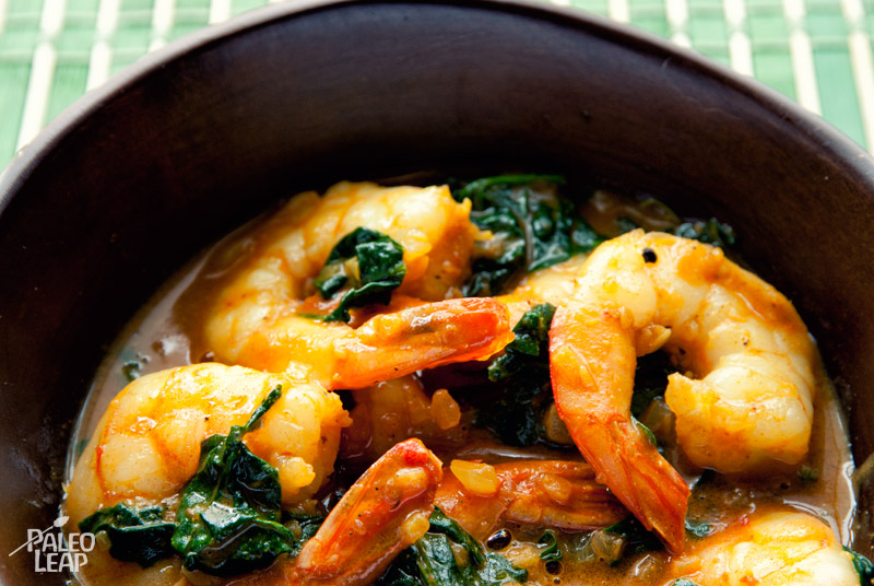 Curried shrimp and spinach