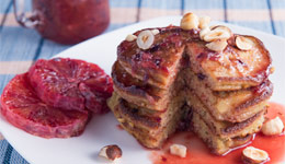 Hazelnut Pancakes With Blood Orange Sauce