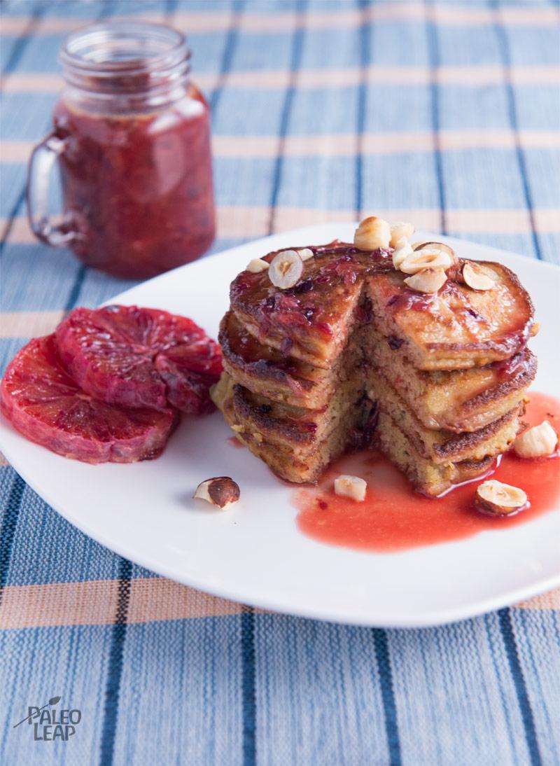 Hazelnut Pancakes With Blood Orange Sauce