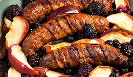 Bacon-Wrapped Sausage With Apples