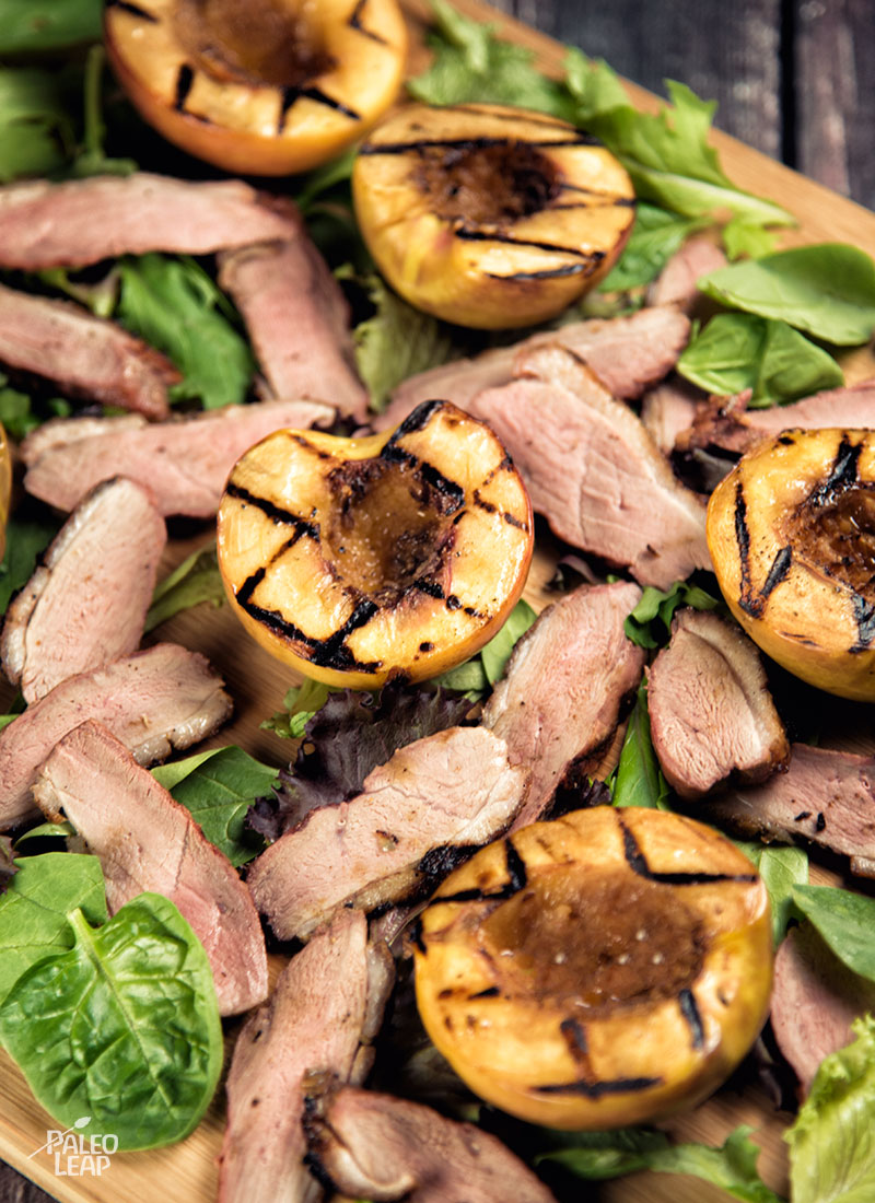 Duck Breast With Peaches preparation