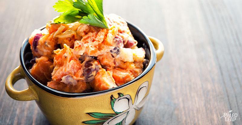 Fruity sweet potato salad preparation