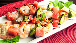 Grilled Shrimp Skewers with Watermelon and Avocado