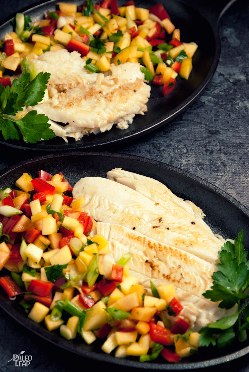 Halibut with Peach and Pepper Salsa