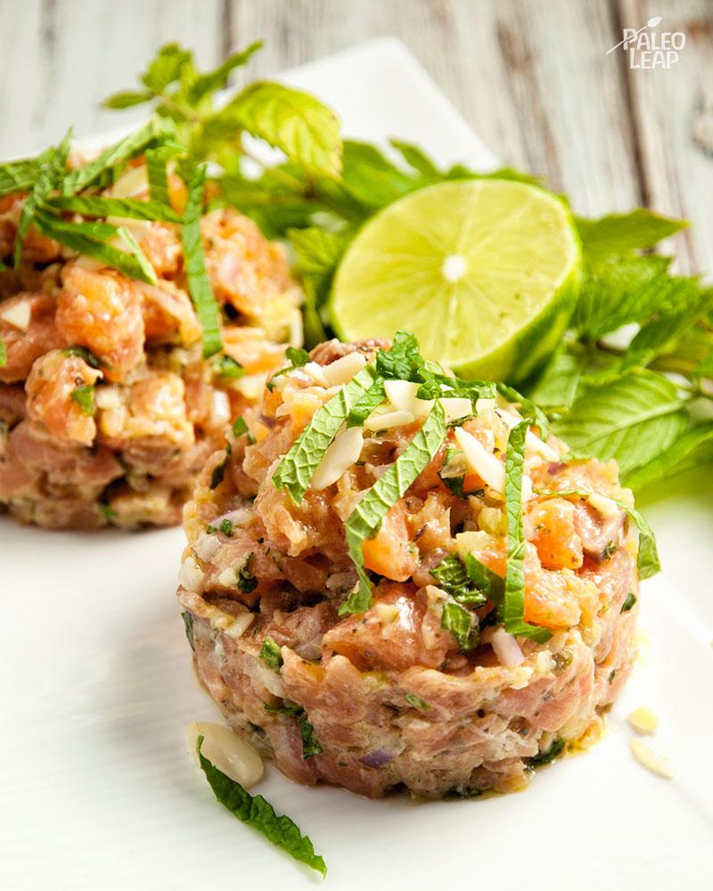 completely raw salmon salmon tartare salmon tartare wonton cones ...