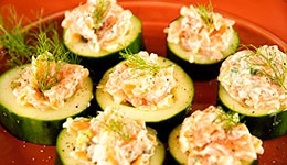 Smoked Salmon Salad on Cucumber Slices