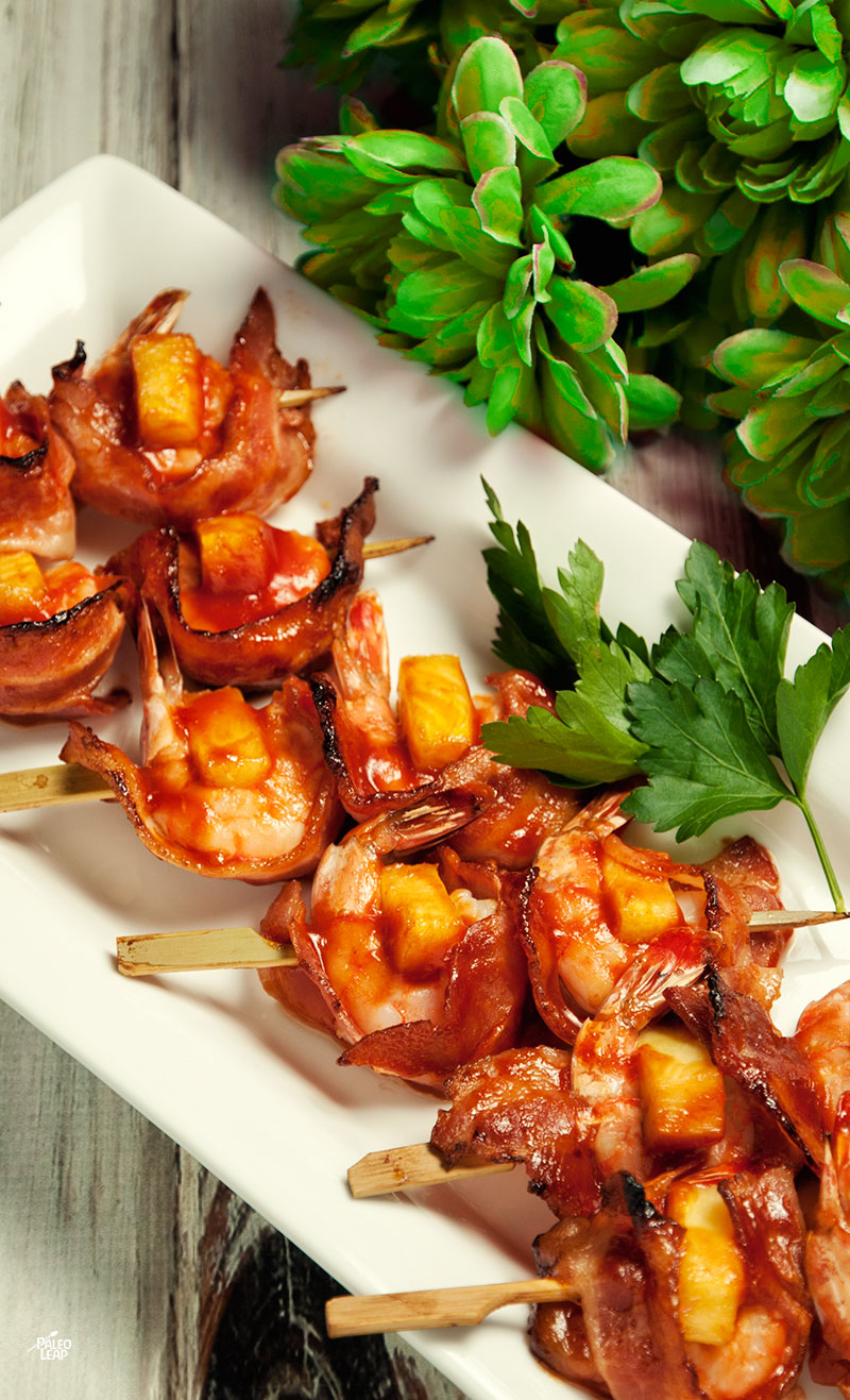 Shrimp, Pineapple and Bacon Skewers | Paleo Leap