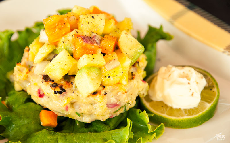 Shrimp Burgers with Pineapple-Avocado Salsa