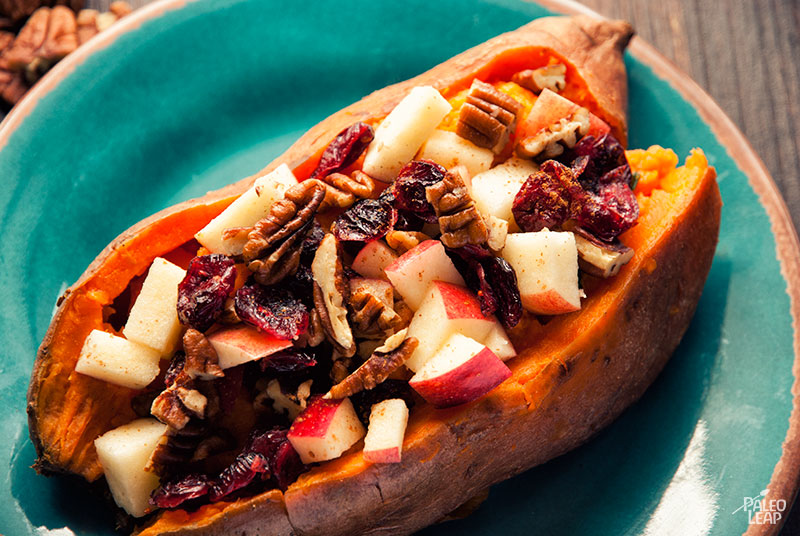 Sweet potatoes with pecans, apples, and dried cranberries