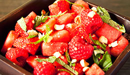 Watermelon, Raspberry and Mint Salad