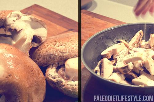 Mushroom salad preparation