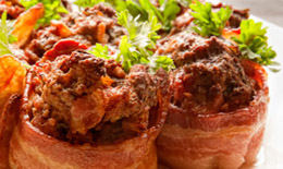 Bacon-Wrapped Mini Meatloaves
