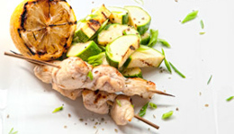 Lemon Chicken Kebabs With Grilled Zucchinis