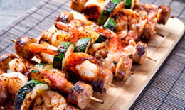 Shrimp Sausage Skewers
