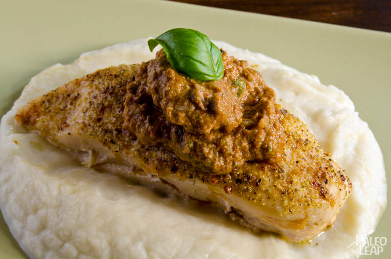 Roast Chicken with Sundried Tomato Pesto and Cauliflower Mash