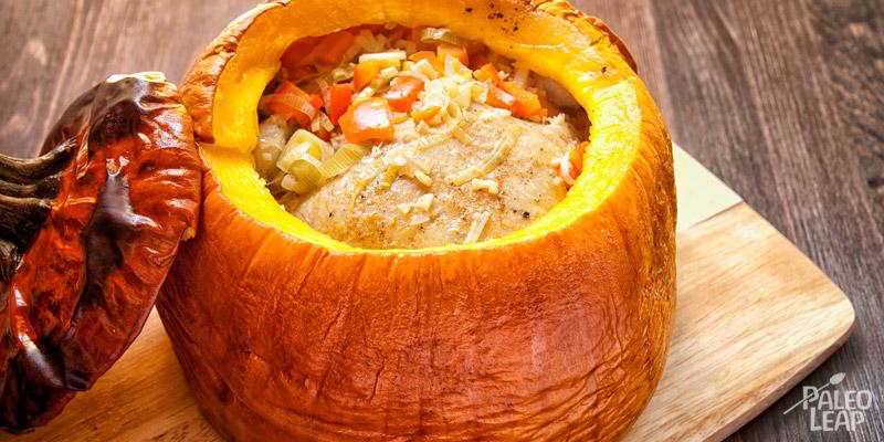 Chicken in a pumpkin