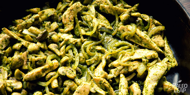 Minted pesto chicken stir-fry