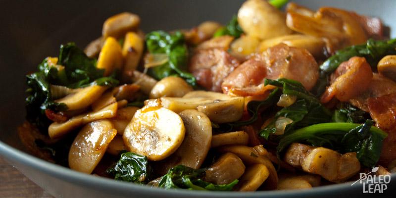 Bacon,spinach& mushroom casserole