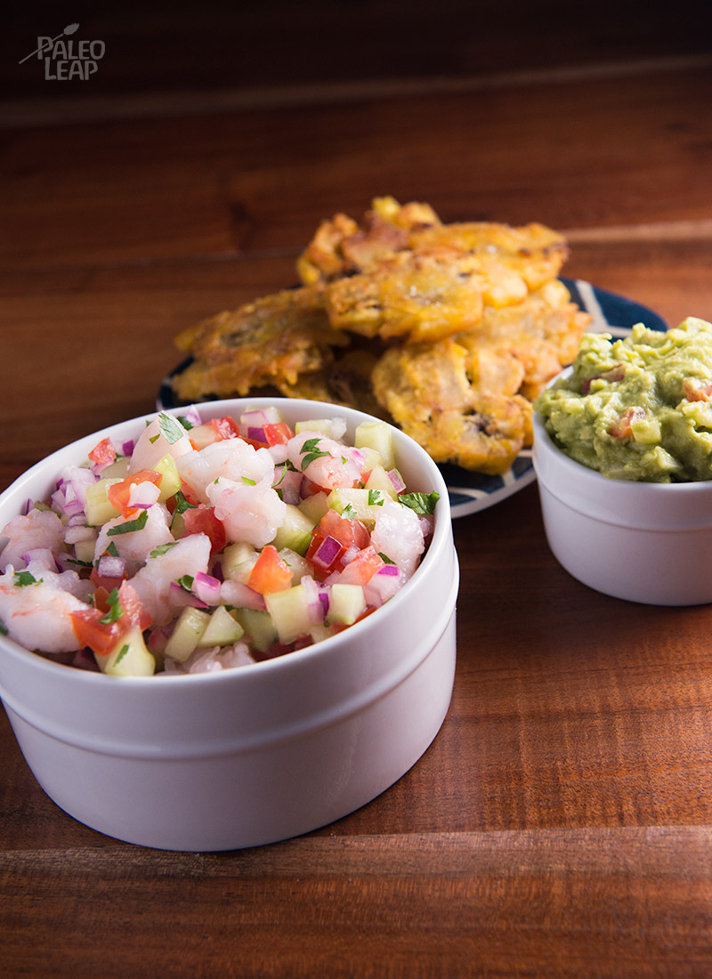 Shrimp ceviche with tostones paleo leap for Shrimp and fish ceviche