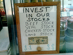 Sign with meat stock prices