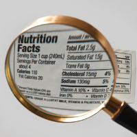 Magnifying glass with nutrition label