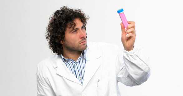 scientist with test tube