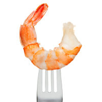 shrimp on a fork