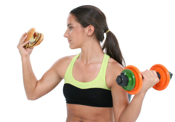 Exercising with a hamburger
