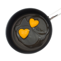 Heart-shaped egg yolks