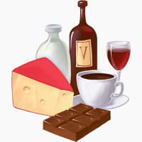 Chocolate, coffee, and alcohol